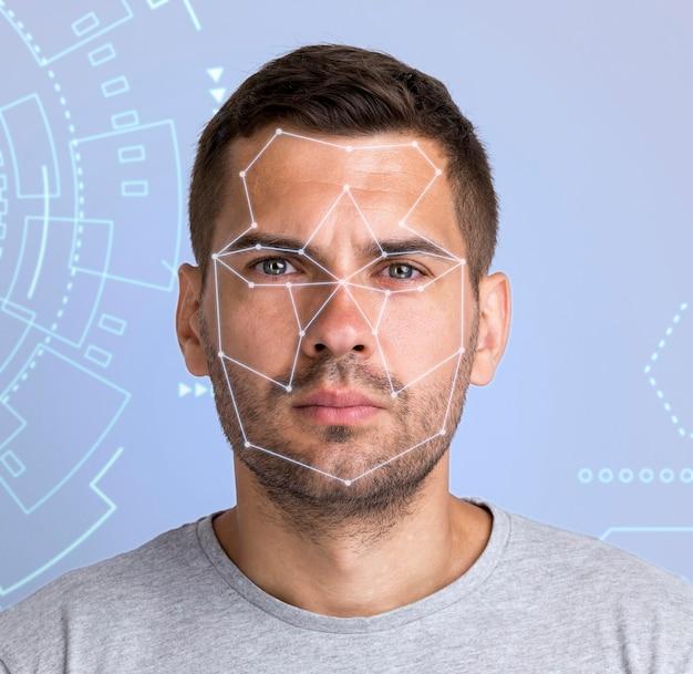 Porträtmanngesicht scannen
