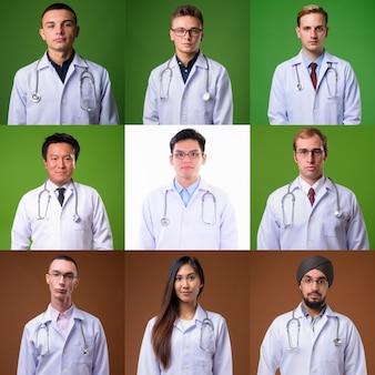 Porträts von ärzten und mitarbeitern des gesundheitswesens, die nach vorne schauen