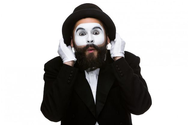 Portrait des überraschten pantomimen
