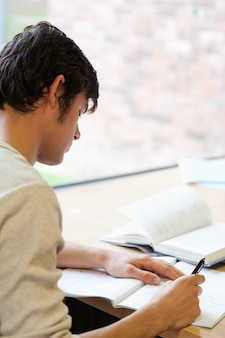Portrait eines jungen studenten, der einen aufsatz schreibt