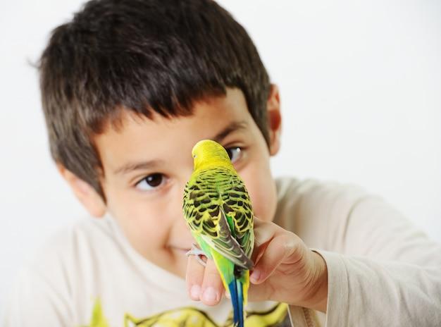 Portrait eines kindermädchens mit ihrem inländischen papageien