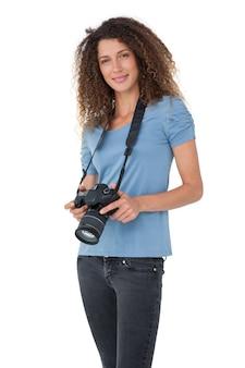 Portrait eines schönen weiblichen fotografen