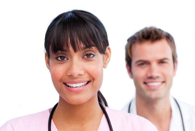 Portrait von zwei lustigen doktoren