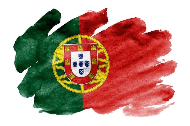 Portugal-flagge wird in der flüssigen aquarellart dargestellt, die auf weiß lokalisiert wird
