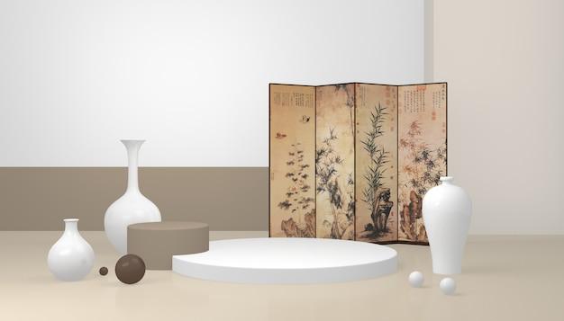 Porzellanausstellungsstand im chinesischen stil mit trennwand