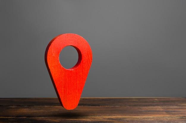 Position des roten stiftzeigers. konzept der navigation.