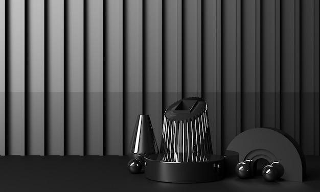 Positionieren sie die geometrischen formen mit glänzenden schwarzen texturen und spiegeln auf schwarzem hintergrund. 3d-rendering