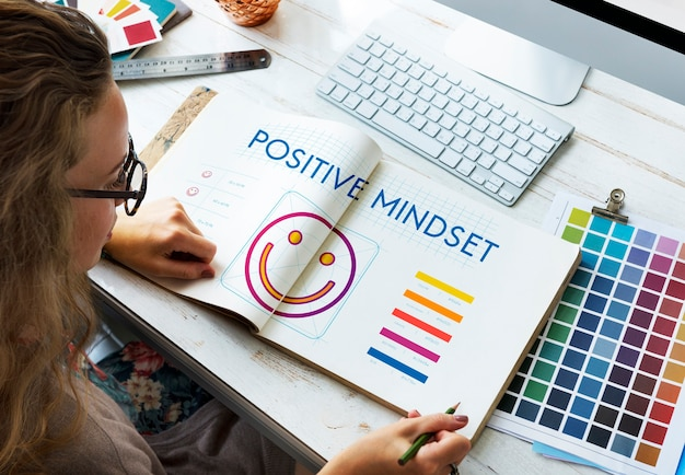 Positives denken glück lifestyle konzept