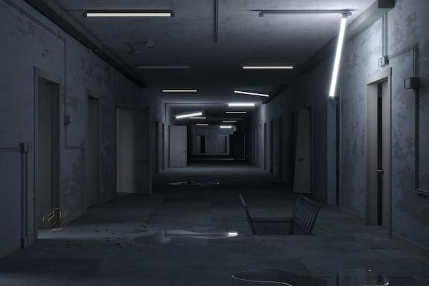 Post-apakalypse-korridor des geheimen labors