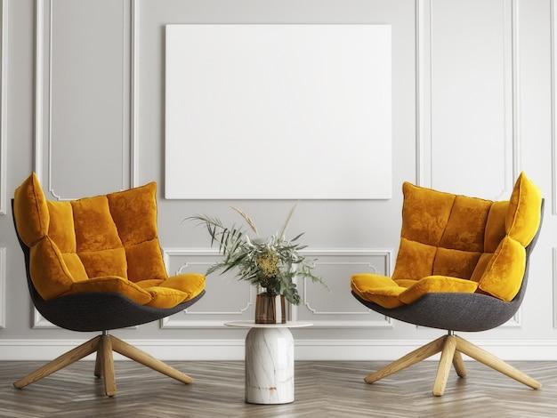 Poster ein gelber bequemer sessel im minimalistischen innendesign