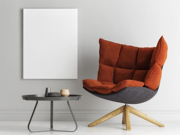 Poster ein sessel in minimalistischem innendesign