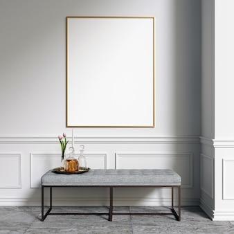 Poster mockup frame mockup im innenraum mit dekorationen