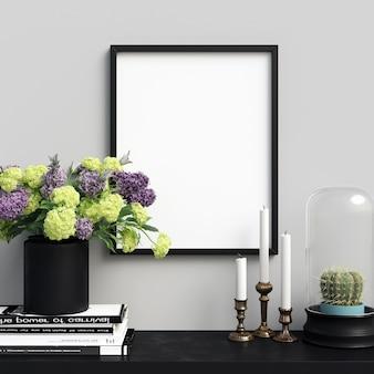 Poster mockup interior mit schönen dekorationen und blumen