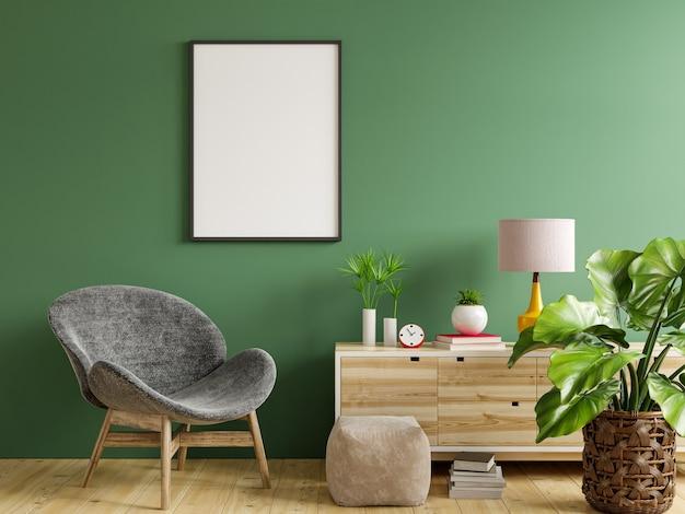 Postermodell mit vertikalem rahmen auf leerer grüner wand im wohnzimmer mit grauem samtsessel. 3d-rendering