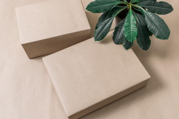 Postfacheinkauf des tropischen grüns der papierboxhintergrund-pflanzenpostkarte