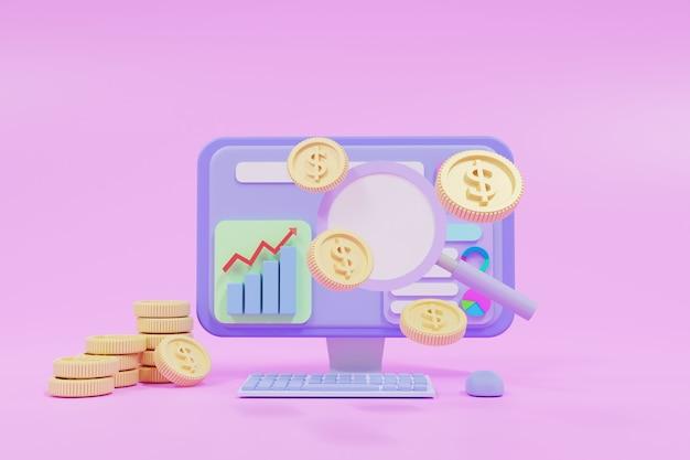 Ppc-werbung und konversionskonzept, suchmarketing, pay-per-click-werbung, flaches banner. 3d-darstellung