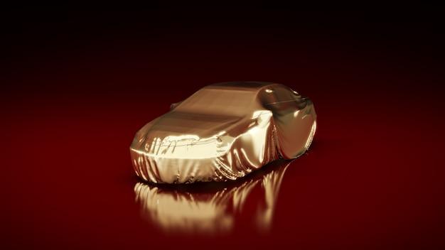Präsentation des goldenen sportwagens