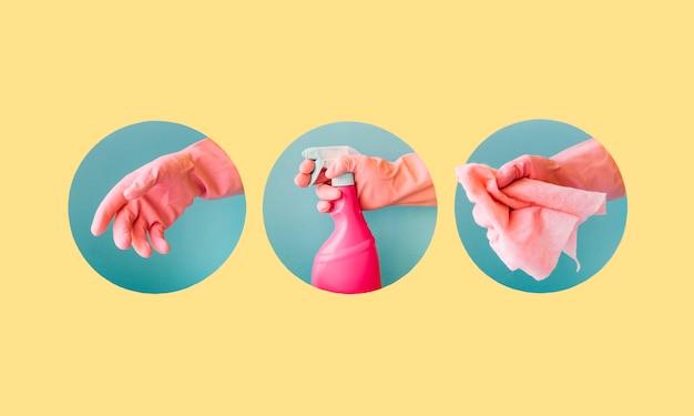 Präsentation von drei reinigungsprodukten