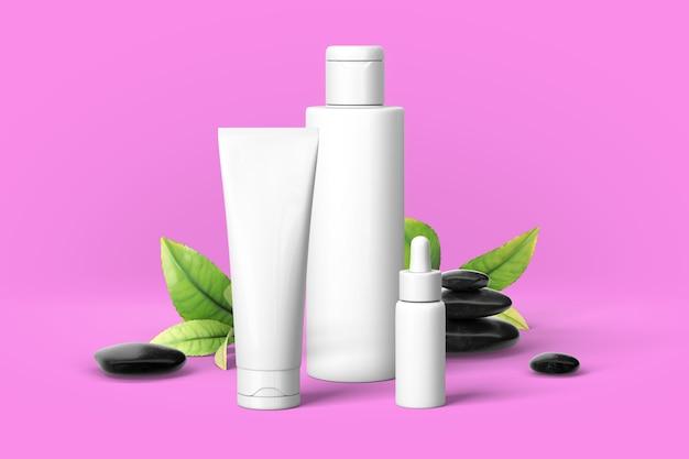Präsentation von kosmetikprodukten. cremefarbene wandszene mit felsen und olivenblatt