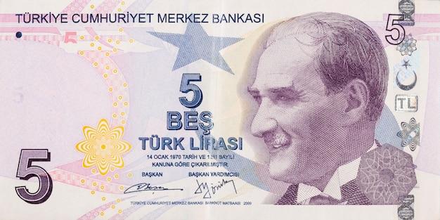 Präsident mustafa kemal atatürk porträt aus der türkei 5 lira 2009 banknoten