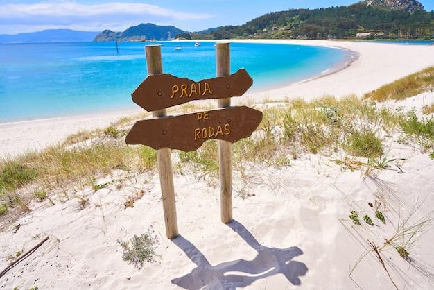 Praia de rodas strandzeichen islas cies insel vigo