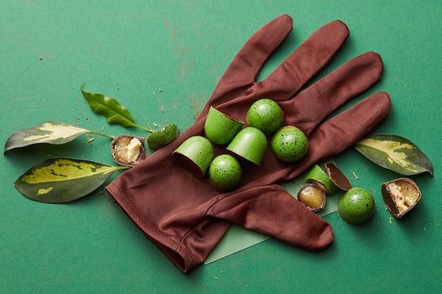 Pralinen auf dem handschuh und blätter auf einem grünen tisch
