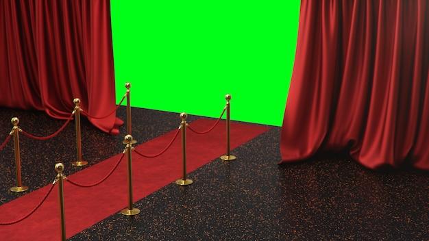 Preisszene mit offenen roten vorhängen auf einem grünen bildschirm. roter samteppich zwischen goldenen hecken
