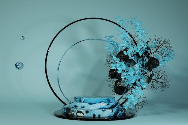 Premium 3d marmor blaues podium auf pastellfarbenem hintergrund mit abstrakten blumen pflanzenzweige blätter kieselsteine mock-up für die ausstellung präsentation von produkten therapie entspannung und gesundheit 3d
