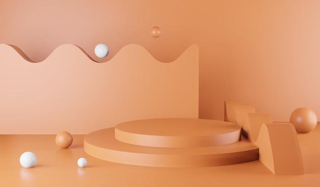 Premium-minimalpodium-studio-rosa-hintergrund für die produktpräsentation. abstrakte hintergrundszene 3d übertragen für produktwerbung.