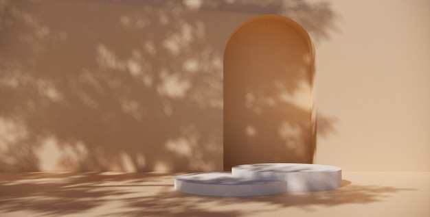 Premium-podium auf pastellfarbenem hintergrund für produktpräsentation, abstrakte geometrische komposition mit zweig und schatten an der wand -3d-rendering. mock-up für ausstellungen. förderung.