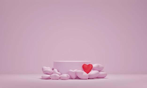 Premium podium und herz auf rosa hintergrund. feiertagsgrußkarte für valentinstag. 3d-rendering