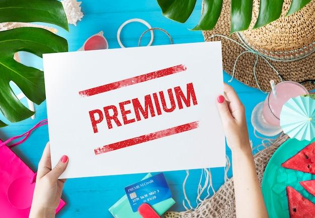 Premium-qualität wertgarantie im wert von standardkonzept