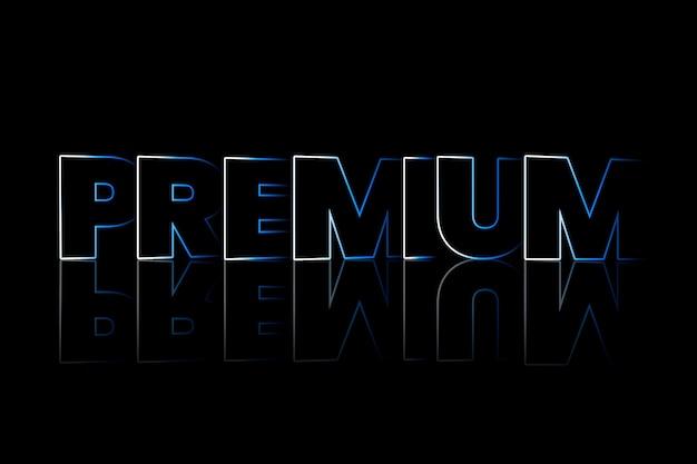 Premium-schattentypografie auf schwarzem hintergrund