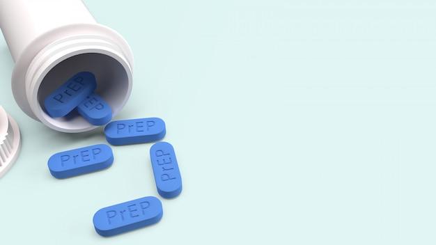 Prep ist eine hiv-präventionspille für die medizinische, 3d-rendering.