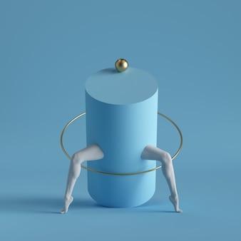Primitive geometrische formen zylinder, goldene kugel, ring, weiße beine lokalisiert auf blauem hintergrund.