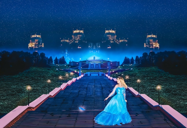 Prinzessin cinderella rennt vom ball weg und hat ihren kristallschuh verloren. kunstverarbeitung.