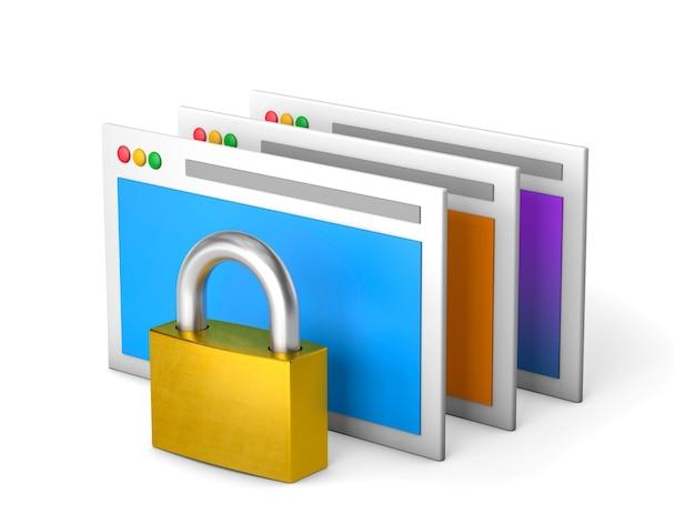 Private und geschützte persönliche informationen geschlossenes schloss und computerfenster isoliert auf weiß