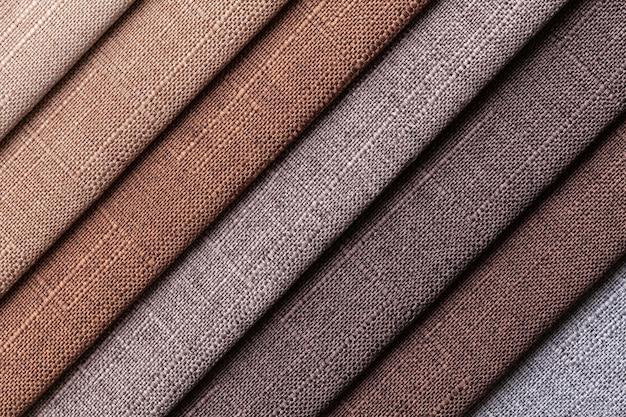 Probe der gewebten textilen braunen und grauen farben