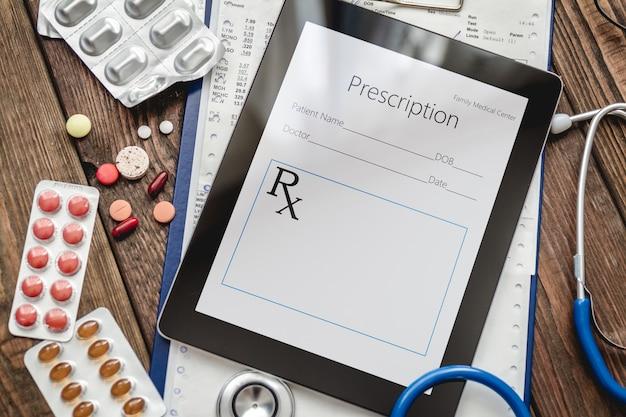 Probe des rezepts oder rezepts für medikamente und pillen