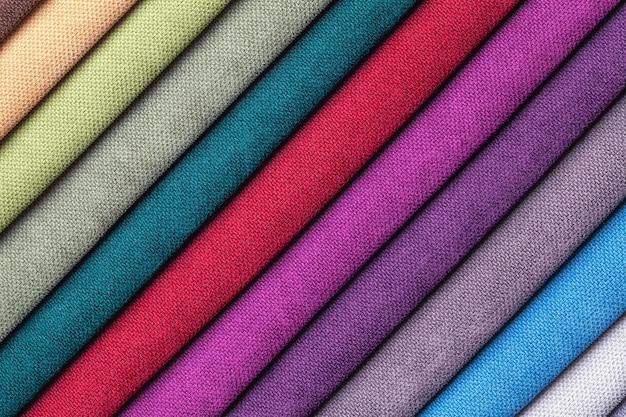 Probe von samt und velours textil verschiedene farben, hintergrund.
