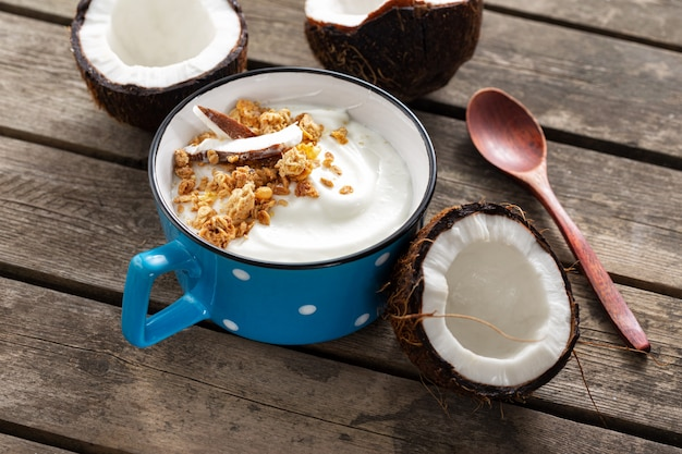 Probiotisches lebensmittelkonzept. schüssel hausgemachten kokosjoghurt mit müsli auf holztisch. gesundes veganes essen. leckeres und gesundes frühstück
