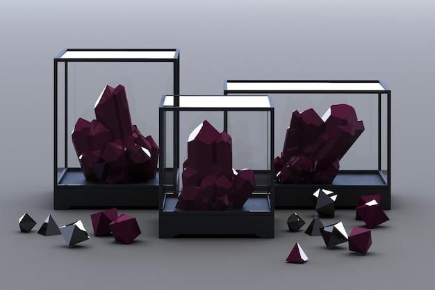 Produkt aus schwarzer mineralbildung, mineralien, quarz, edelsteinen, diamanten. 3d-rendering