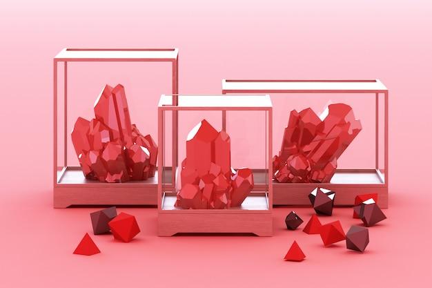 Produkt der roten mineralbildung mineralien quarz edelsteine diamanten 3d rendering