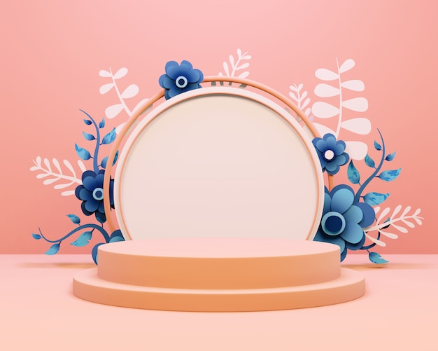 Produkt-display-podium mit schönen blumenarrangements