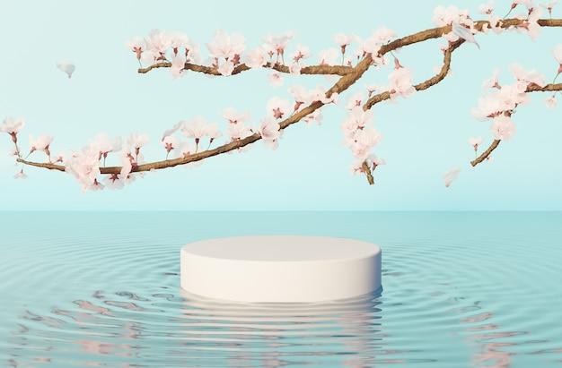 Produkt stehen im wasser mit wellen auf blauer oberfläche und kirschbaumzweigen mit vielen blumen