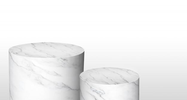 Produktanzeige zylinderständer aus weißem glänzendem marmor in zwei schritten mit kopierraum