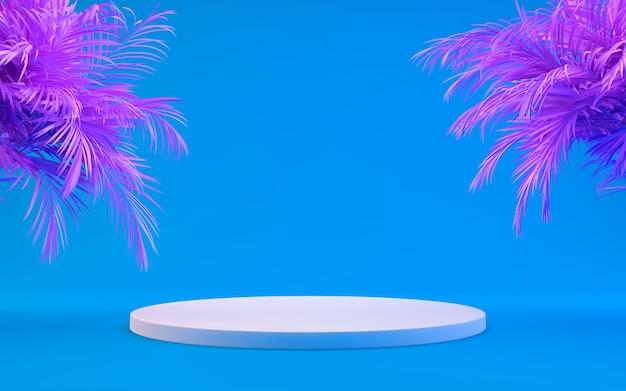 Produktanzeigepodest verziert mit tropischen rosa palmblättern auf blau