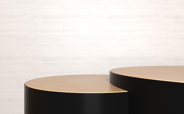 Produktanzeigeständer aus schwarzbraunem marmor in zwei schritten, abstrakte 3d-zusammensetzung für produktanzeige