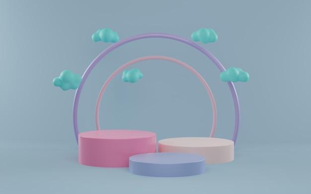 Produktanzeigeständer und cloud-3d-rendering. zylinder podium