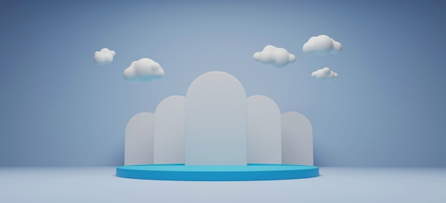 Produktanzeigeständer und cloud-3d-rendering.